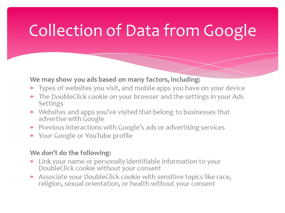 Google and YouTube Internet-based Advertising Google Ads Settings based on websites that you have visited.