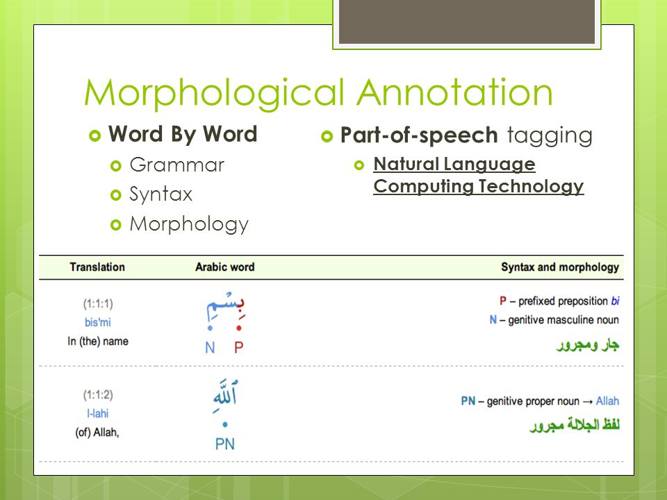 Morphological Annotation  Word By Word  Grammar  Syntax  Morphology  Part-of-speech tagging  Natural Language Computing Technology