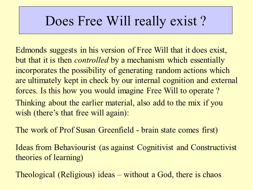 Does Free Will really exist .