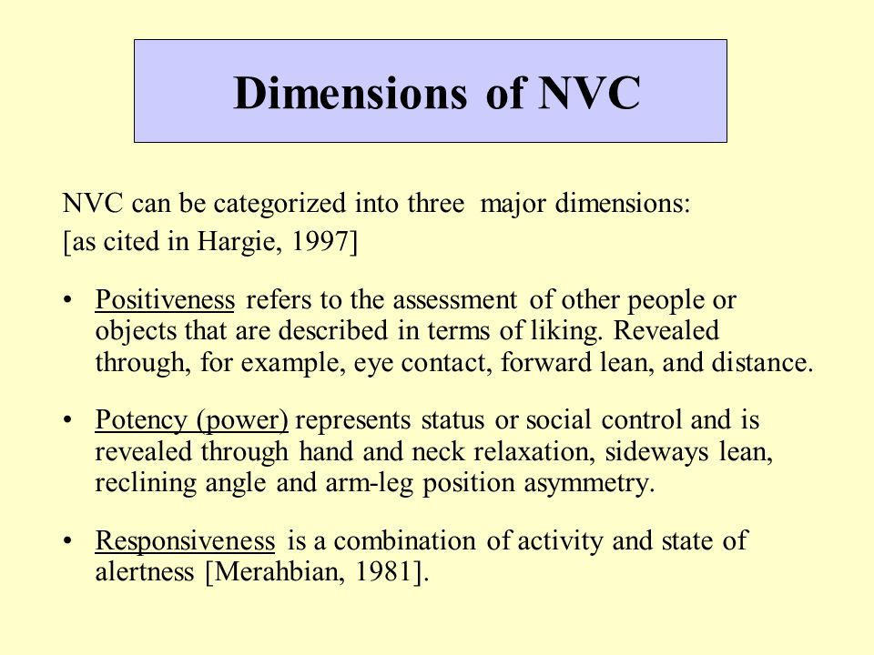 Dimensions of NVC NVC can be categorized into three major dimensions: [as cited in Hargie, 1997] Positiveness refers to the assessment of other people or objects that are described in terms of liking.