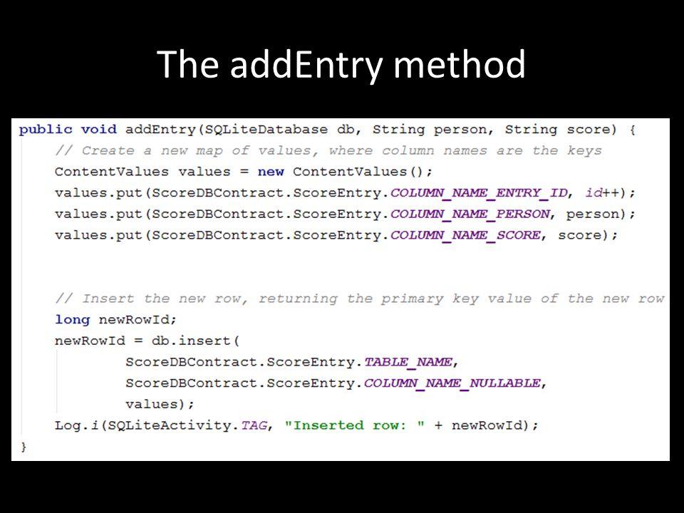 The addEntry method