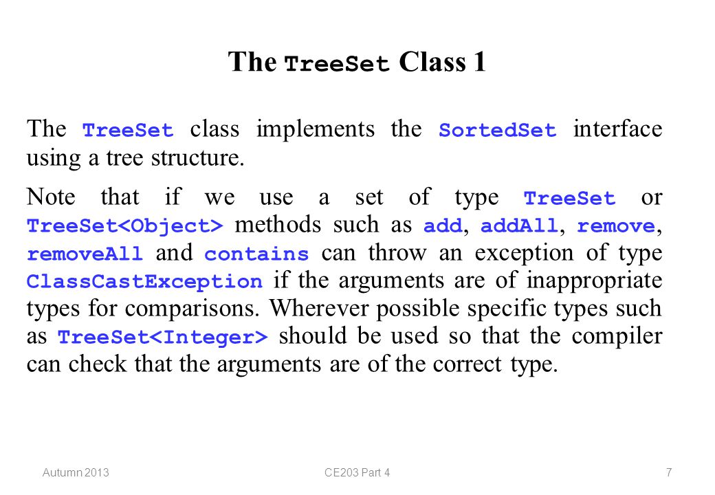 Autumn 2013CE203 Part 418 Lists 8 The LinkedList class provides six extra methods for programming convenience (although all of their operations can be performed using methods specified by the List interface).