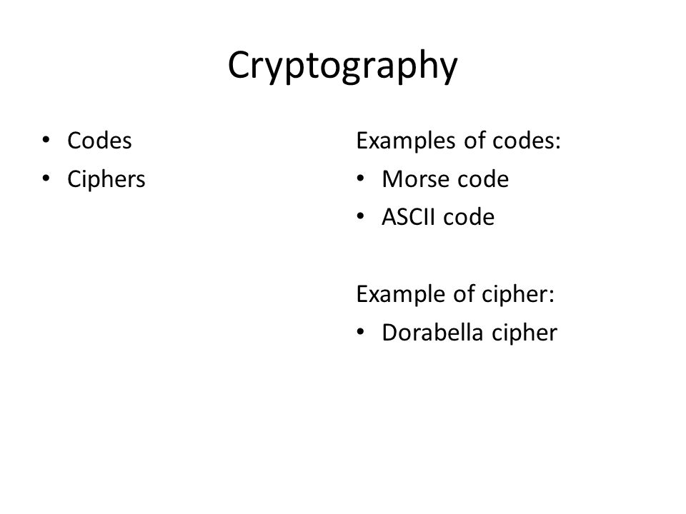 Cryptography Codes Ciphers Examples of codes: Morse code ASCII code Example of cipher: Dorabella cipher