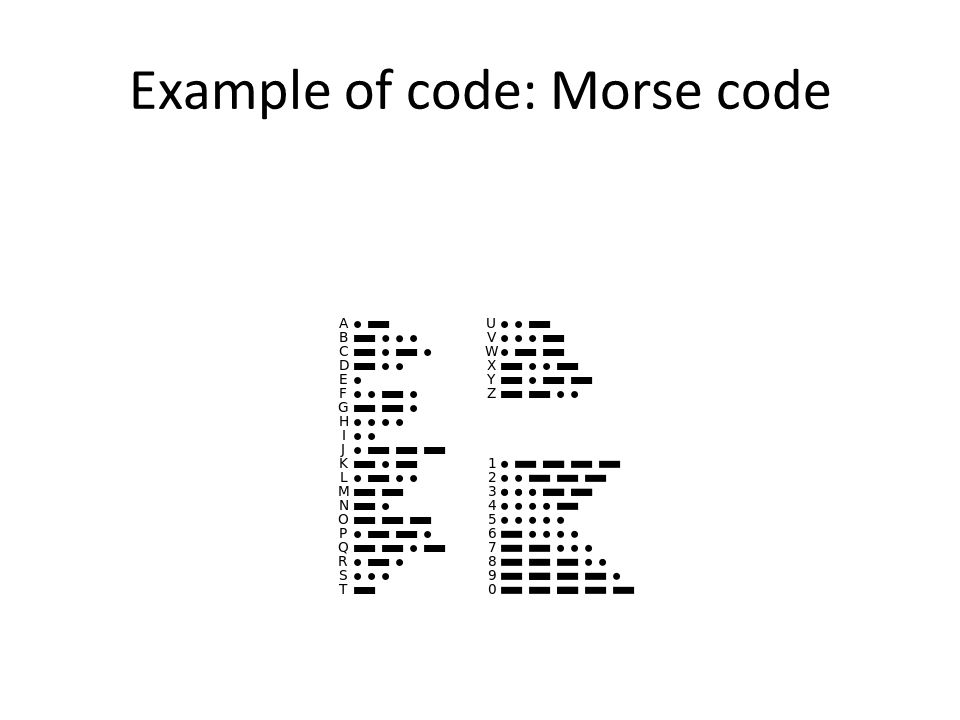 Example of code: Morse code