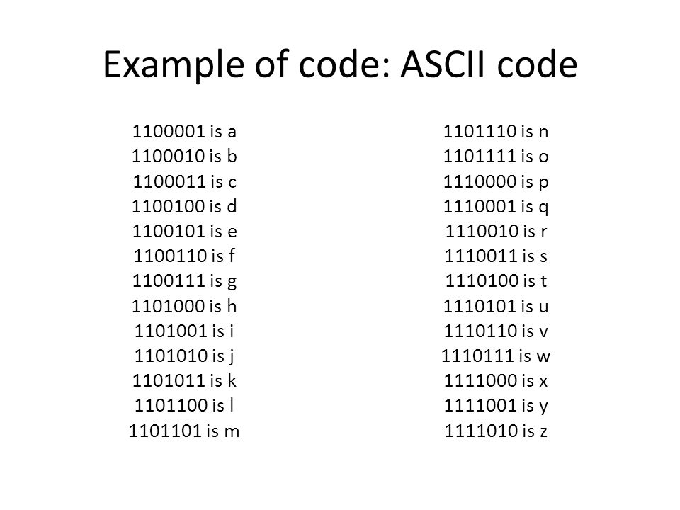 For discussion In what circumstances would one want to use ASCII code.