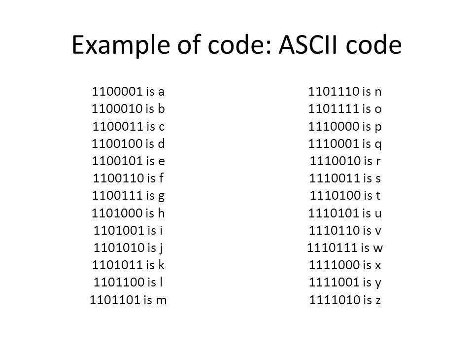 Example of code: ASCII code 1100001 is a 1100010 is b 1100011 is c 1100100 is d 1100101 is e 1100110 is f 1100111 is g 1101000 is h 1101001 is i 1101010 is j 1101011 is k 1101100 is l 1101101 is m 1101110 is n 1101111 is o 1110000 is p 1110001 is q 1110010 is r 1110011 is s 1110100 is t 1110101 is u 1110110 is v 1110111 is w 1111000 is x 1111001 is y 1111010 is z