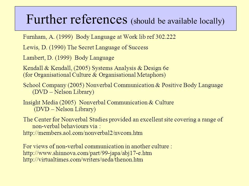 Furnham, A. (1999) Body Language at Work lib ref 302.222 Lewis, D. (1990) The Secret Language of Success Lambert, D. (1999) Body Language Kendall & Ke
