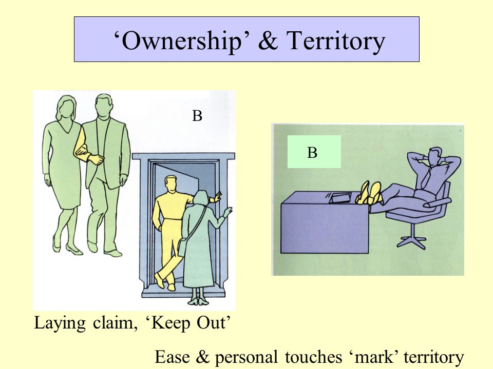 'Ownership' & Territory Laying claim, 'Keep Out' Ease & personal touches 'mark' territory B B