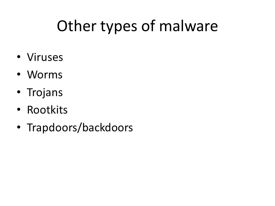 Other types of malware Viruses Worms Trojans Rootkits Trapdoors/backdoors