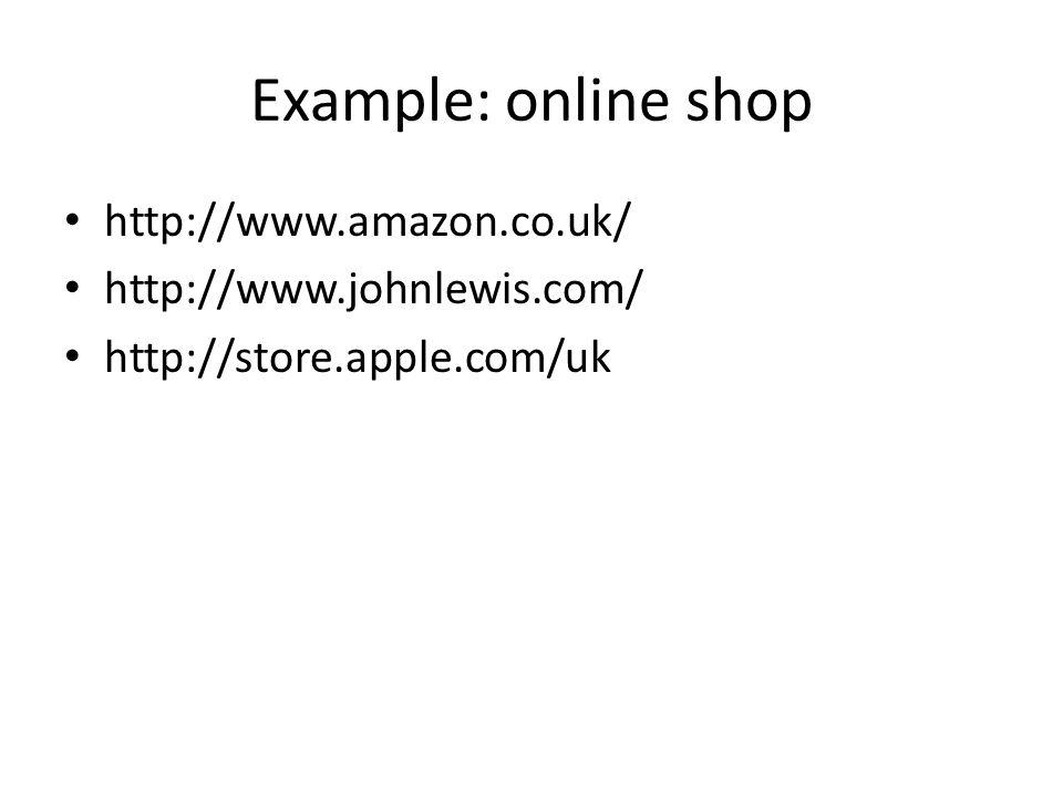 Example: online shop