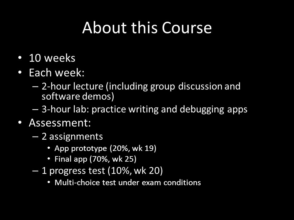 About this Course 10 weeks Each week: – 2-hour lecture (including group discussion and software demos) – 3-hour lab: practice writing and debugging ap