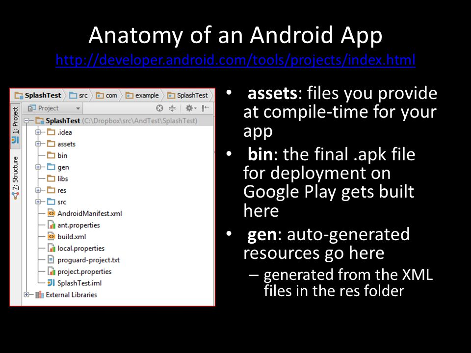 Anatomy of an Android App http://developer.android.com/tools/projects/index.html http://developer.android.com/tools/projects/index.html assets: files you provide at compile-time for your app bin: the final.apk file for deployment on Google Play gets built here gen: auto-generated resources go here – generated from the XML files in the res folder