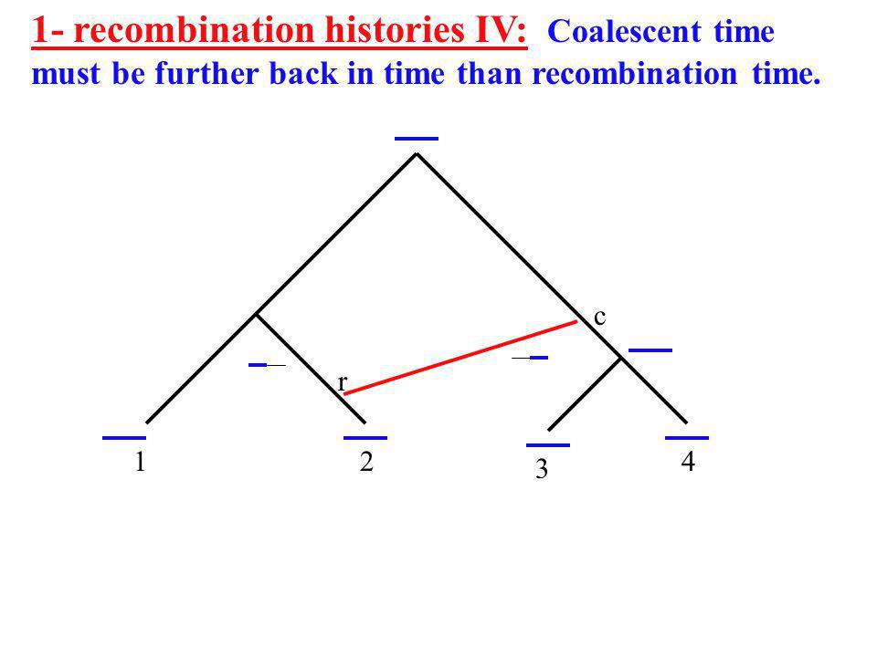 1- recombination histories IV: Coalescent time must be further back in time than recombination time.