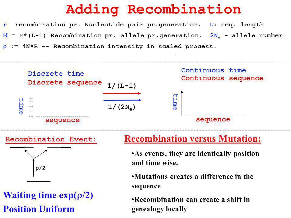r recombination pr. Nucleotide pair pr.generation. L: seq. length R = r*(L-1) Recombination pr. allele pr.generation. 2N e - allele number  := 4N*R -