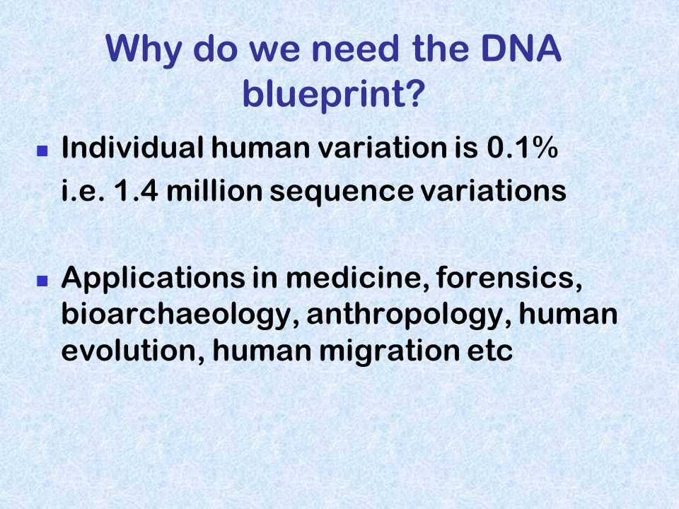 Why do we need the DNA blueprint.Individual human variation is 0.1% i.e.
