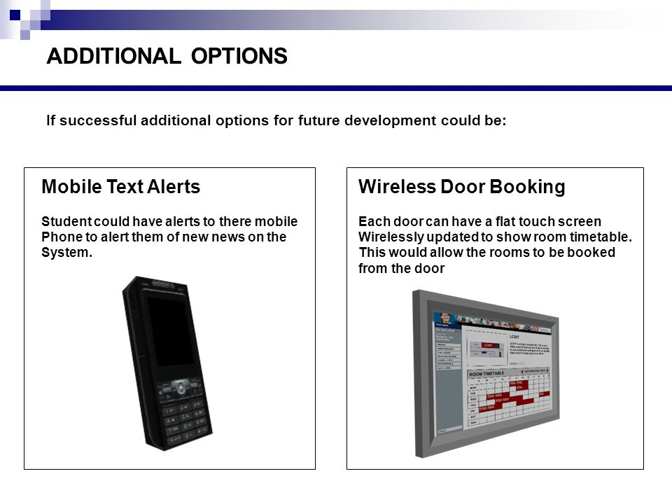 ADDITIONAL OPTIONS Wireless Door Booking Each door can have a flat touch screen Wirelessly updated to show room timetable.