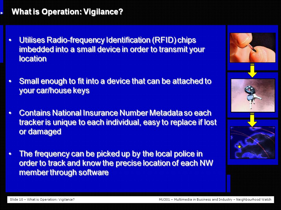 Slide 10 – What is Operation: Vigilance MU301 – Multimedia in Business and Industry – Neighbourhood Watch What is Operation: Vigilance.