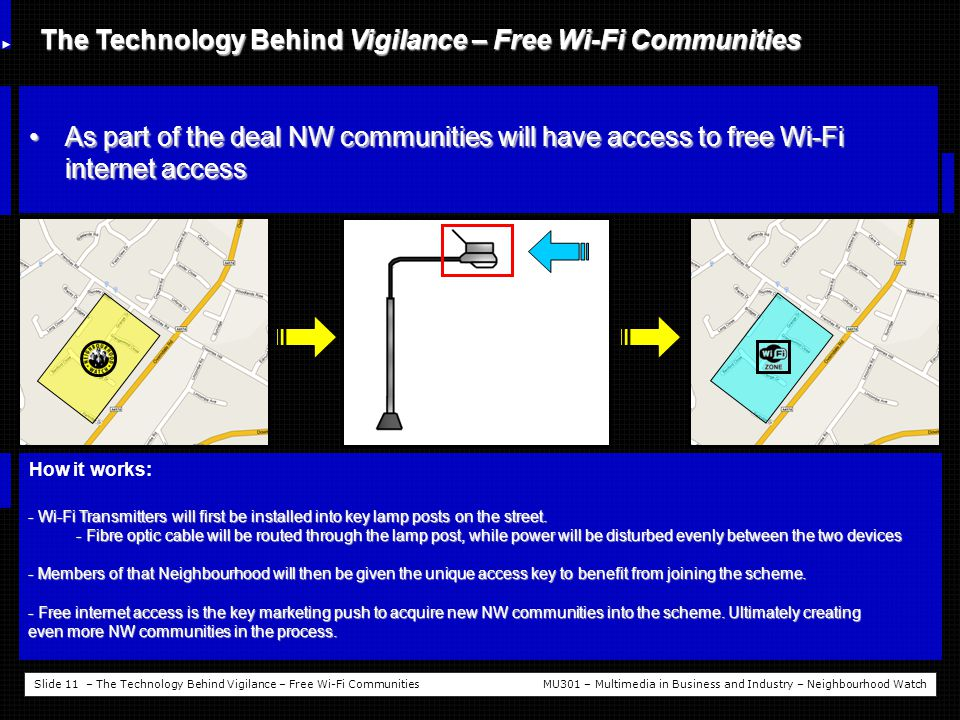 Slide 11 – The Technology Behind Vigilance – Free Wi-Fi CommunitiesMU301 – Multimedia in Business and Industry – Neighbourhood Watch The Technology Behind Vigilance – Free Wi-Fi Communities As part of the deal NW communities will have access to free Wi-Fi internet accessAs part of the deal NW communities will have access to free Wi-Fi internet access How it works: - Wi-Fi Transmitters will first be installed into key lamp posts on the street.