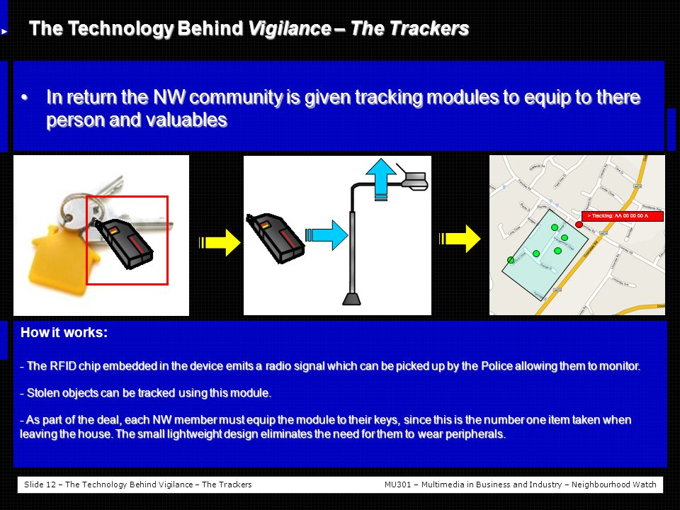 Slide 12 – The Technology Behind Vigilance – The TrackersMU301 – Multimedia in Business and Industry – Neighbourhood Watch The Technology Behind Vigilance – The Trackers In return the NW community is given tracking modules to equip to there person and valuablesIn return the NW community is given tracking modules to equip to there person and valuables How it works: - The RFID chip embedded in the device emits a radio signal which can be picked up by the Police allowing them to monitor.