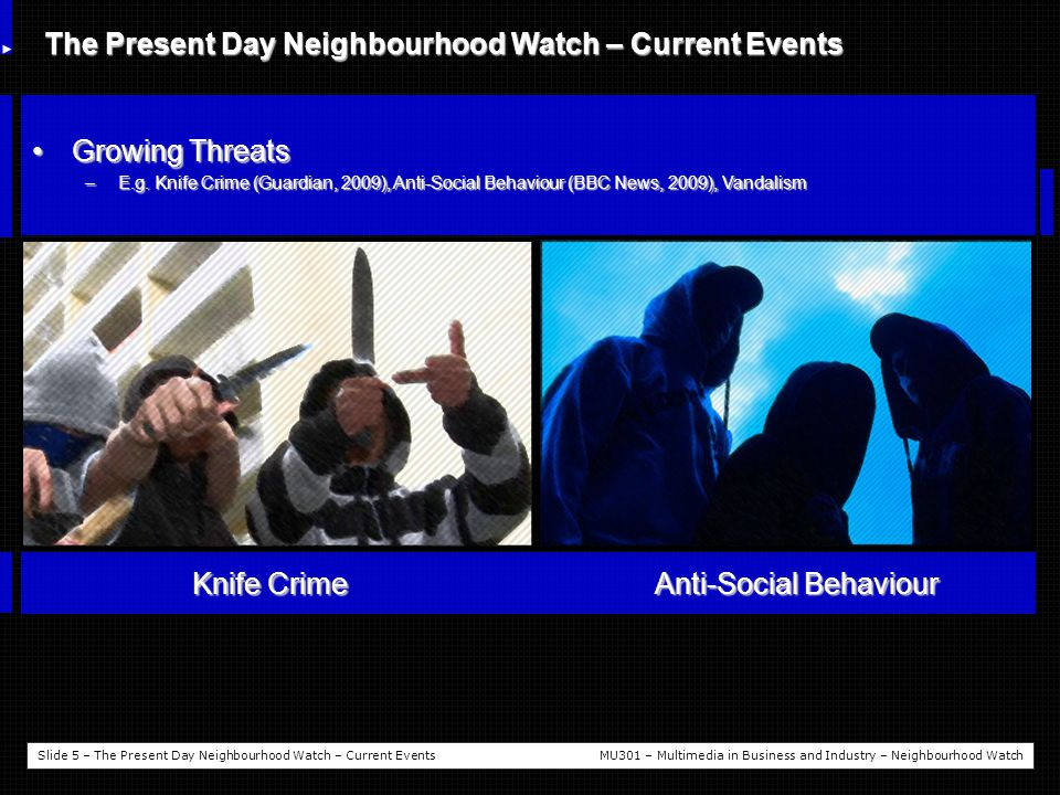 Slide 5 – The Present Day Neighbourhood Watch – Current EventsMU301 – Multimedia in Business and Industry – Neighbourhood Watch The Present Day Neighbourhood Watch – Current Events Growing ThreatsGrowing Threats –E.g.