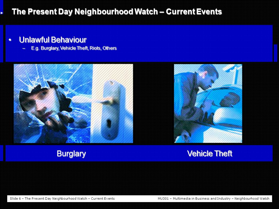 Slide 7 – The Present Day Neighbourhood Watch – Current EventsMU301 – Multimedia in Business and Industry – Neighbourhood Watch The Present Day Neighbourhood Watch – Current Events Extreme ThreatsExtreme Threats –E.g.