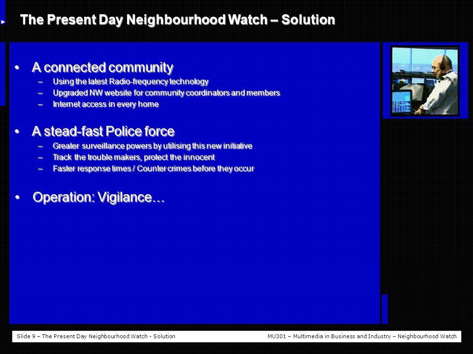 Slide 10 – What is Operation: Vigilance?MU301 – Multimedia in Business and Industry – Neighbourhood Watch What is Operation: Vigilance.
