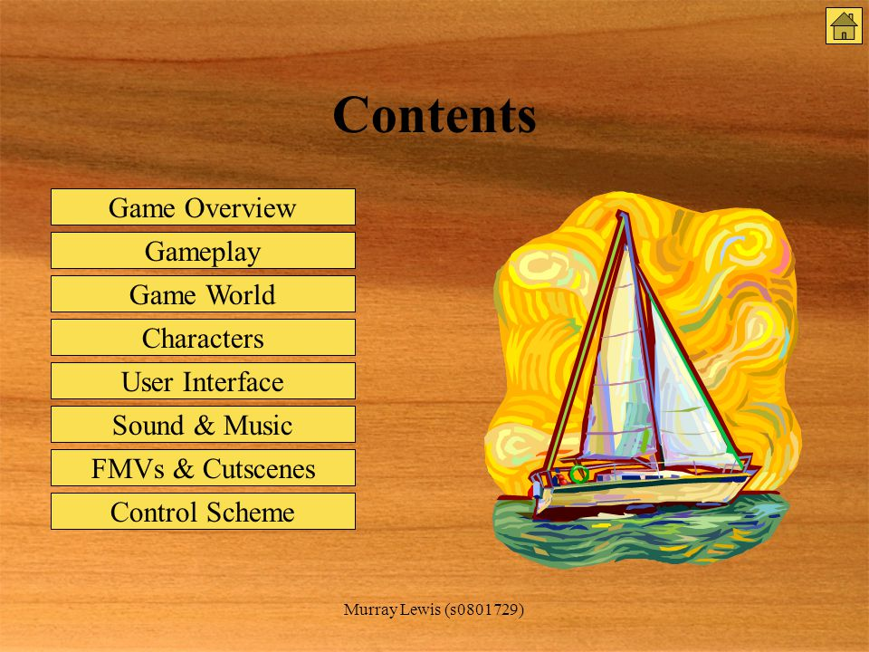 Murray Lewis (s0801729) Contents Game Overview Gameplay Game World Characters User Interface Sound & Music FMVs & Cutscenes Control Scheme