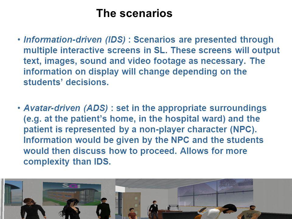 The scenarios Information-driven (IDS) : Scenarios are presented through multiple interactive screens in SL.