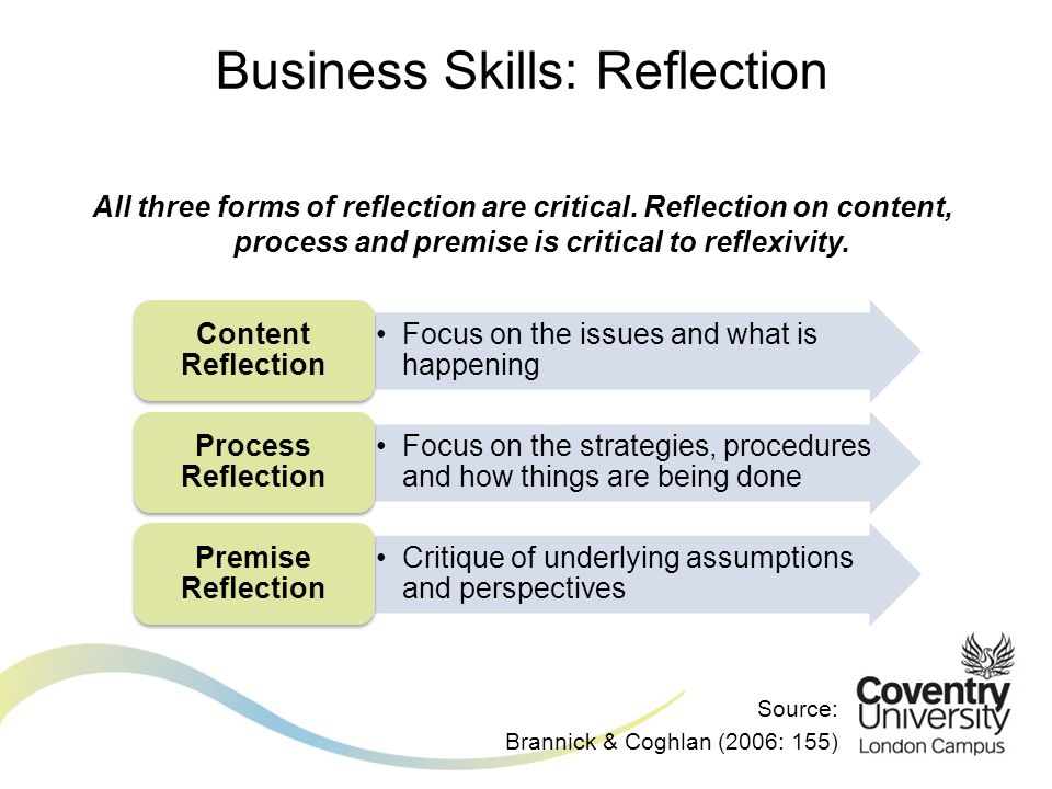 All three forms of reflection are critical. Reflection on content, process and premise is critical to reflexivity. Business Skills: Reflection Focus o