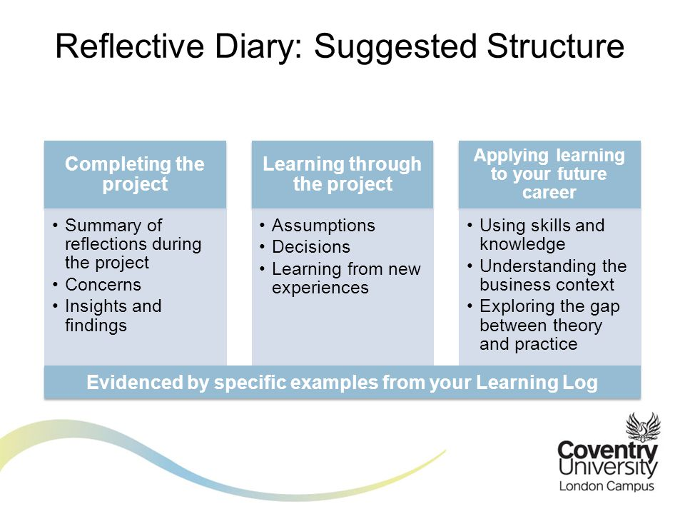 Reflective Diary: Suggested Structure Completing the project Summary of reflections during the project Concerns Insights and findings Learning through the project Assumptions Decisions Learning from new experiences Applying learning to your future career Using skills and knowledge Understanding the business context Exploring the gap between theory and practice Evidenced by specific examples from your Learning Log