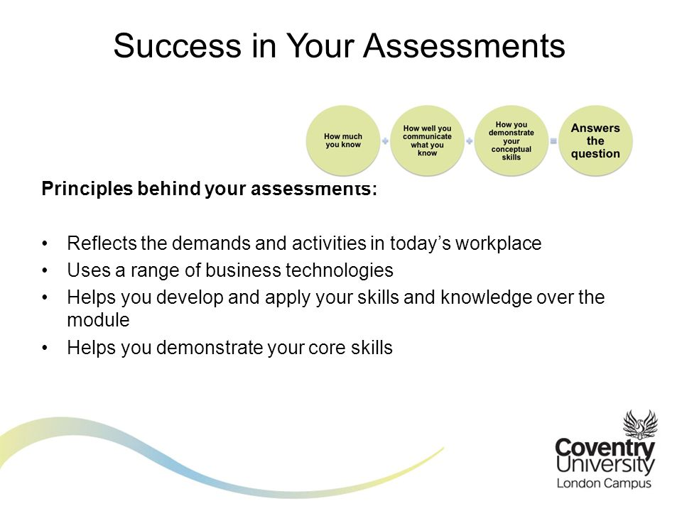 Principles behind your assessments: Reflects the demands and activities in today's workplace Uses a range of business technologies Helps you develop and apply your skills and knowledge over the module Helps you demonstrate your core skills Success in Your Assessments
