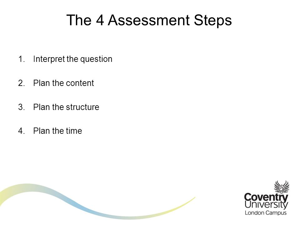 1.Interpret the question 2.Plan the content 3.Plan the structure 4.Plan the time The 4 Assessment Steps
