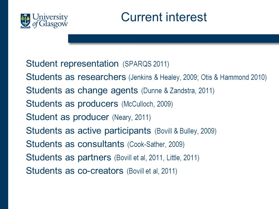 Current interest Student representation (SPARQS 2011) Students as researchers (Jenkins & Healey, 2009; Otis & Hammond 2010) Students as change agents (Dunne & Zandstra, 2011) Students as producers (McCulloch, 2009) Student as producer (Neary, 2011) Students as active participants (Bovill & Bulley, 2009) Students as consultants (Cook-Sather, 2009) Students as partners (Bovill et al, 2011, Little, 2011) Students as co-creators (Bovill et al, 2011)