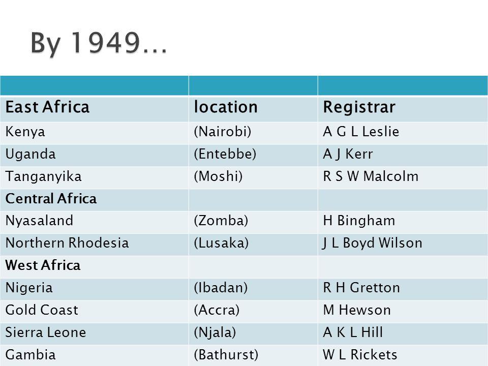 East AfricalocationRegistrar Kenya(Nairobi)A G L Leslie Uganda(Entebbe)A J Kerr Tanganyika(Moshi)R S W Malcolm Central Africa Nyasaland(Zomba)H Bingham Northern Rhodesia(Lusaka)J L Boyd Wilson West Africa Nigeria(Ibadan)R H Gretton Gold Coast(Accra)M Hewson Sierra Leone(Njala)A K L Hill Gambia(Bathurst)W L Rickets