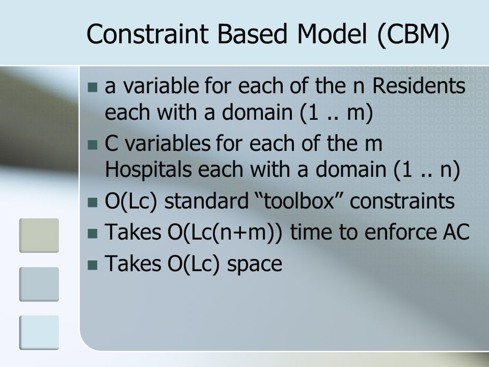 Constraint Based Model (CBM) a variable for each of the n Residents each with a domain (1..
