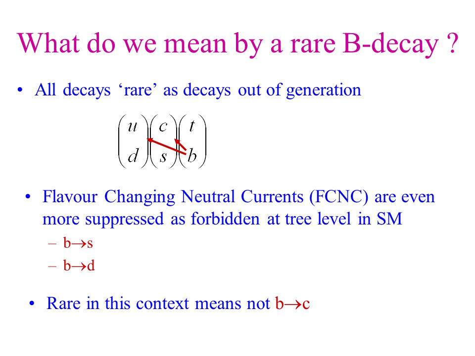 What do we mean by a rare B-decay .