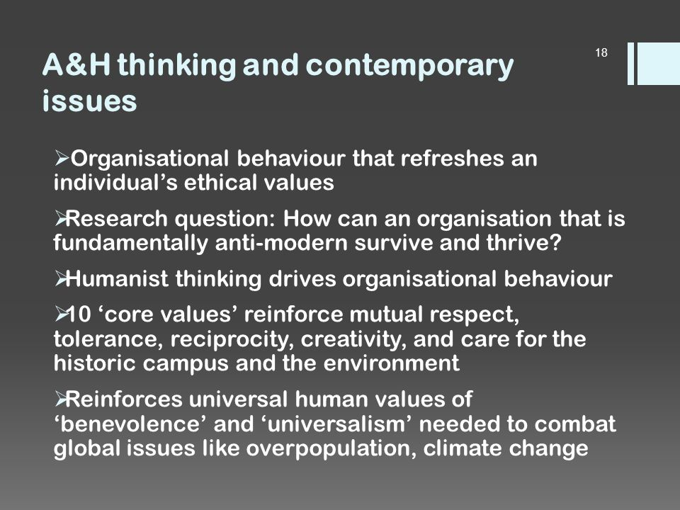 A&H thinking and contemporary issues  Organisational behaviour that refreshes an individual's ethical values  Research question: How can an organisation that is fundamentally anti-modern survive and thrive.
