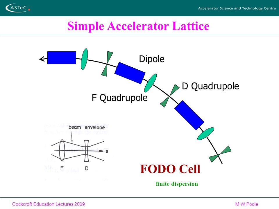 Cockcroft Education Lectures 2009M W Poole Simple Accelerator Lattice Dipole F Quadrupole D Quadrupole FODO Cell finite dispersion
