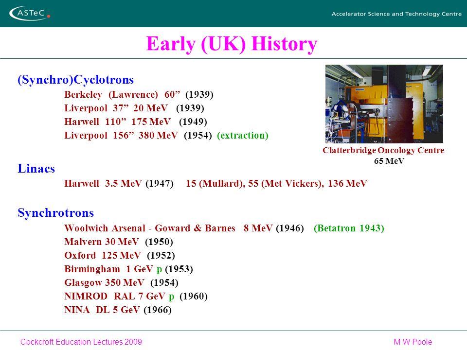 Cockcroft Education Lectures 2009M W Poole Early (UK) History (Synchro)Cyclotrons Berkeley (Lawrence) 60 (1939) Liverpool 37 20 MeV (1939) Harwell 110 175 MeV (1949) Liverpool 156 380 MeV (1954) (extraction) Linacs Harwell 3.5 MeV (1947) 15 (Mullard), 55 (Met Vickers), 136 MeV Synchrotrons Woolwich Arsenal - Goward & Barnes 8 MeV (1946) (Betatron 1943) Malvern 30 MeV (1950) Oxford 125 MeV (1952) Birmingham 1 GeV p (1953) Glasgow 350 MeV (1954) NIMROD RAL 7 GeV p (1960) NINA DL 5 GeV (1966) Clatterbridge Oncology Centre 65 MeV