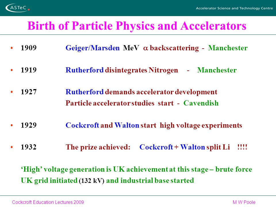 Cockcroft Education Lectures 2009M W Poole Birth of Particle Physics and Accelerators 1909Geiger/Marsden MeV  backscattering - Manchester 1919Rutherford disintegrates Nitrogen - Manchester 1927Rutherford demands accelerator development Particle accelerator studies start - Cavendish 1929Cockcroft and Walton start high voltage experiments 1932The prize achieved: Cockcroft + Walton split Li !!!.