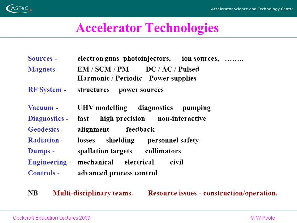 Cockcroft Education Lectures 2009M W Poole Accelerator Technologies Sources -electron guns photoinjectors, ion sources, ……..