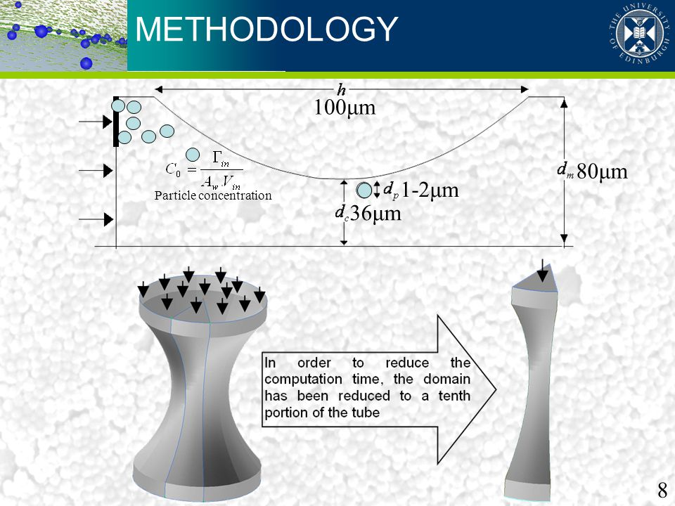 METHODOLOGY 100μm 1-2μm 36μm 80μm Particle concentration 8