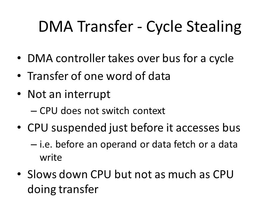 DMA Transfer - Cycle Stealing DMA controller takes over bus for a cycle Transfer of one word of data Not an interrupt – CPU does not switch context CP