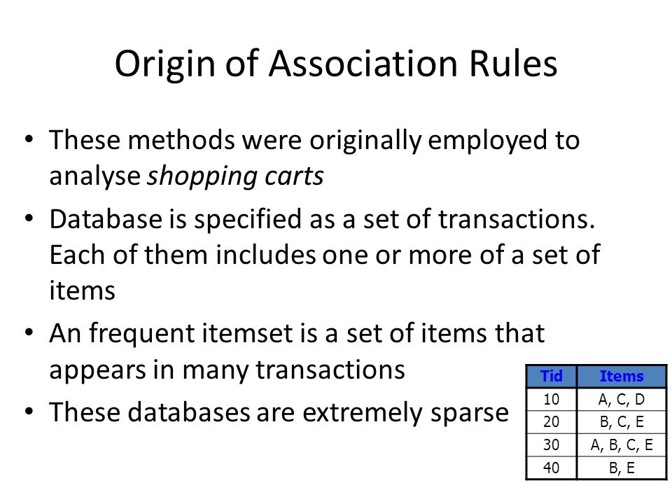 Origin of Association Rules These methods were originally employed to analyse shopping carts Database is specified as a set of transactions.