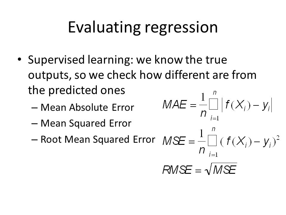 Linear Regression Most classic (and widespread in statistics) type of regression f(X) is modelled as – y'=w 0 +w 1 x 1 +w 2 x 2 +…+w n x n http://upload.wikimedia.org/wikipedia/en/thumb/1/13/Linear_regression.png/400px-Linear_regression.png