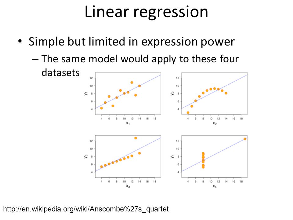 Linear regression Simple but limited in expression power – The same model would apply to these four datasets http://en.wikipedia.org/wiki/Anscombe%27s_quartet