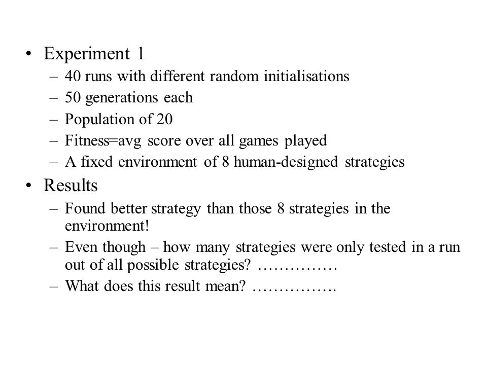 Experiment 2 –changing environment: the evolving strategies played against each other.