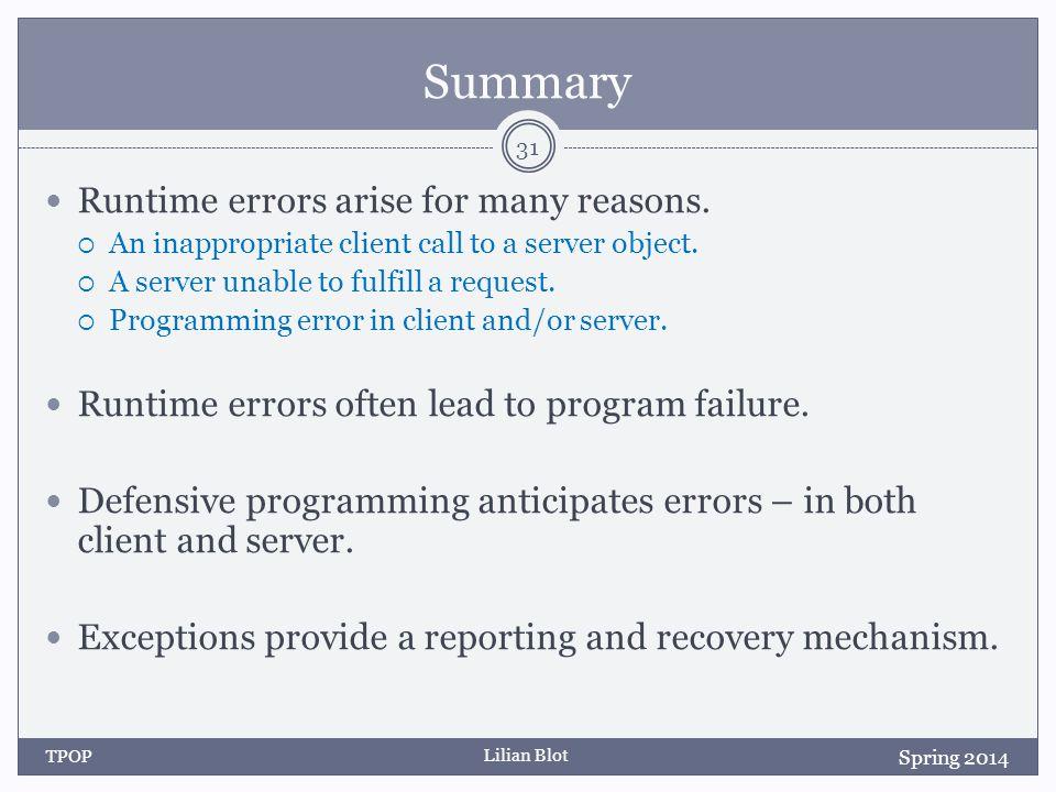 Lilian Blot Summary Runtime errors arise for many reasons.