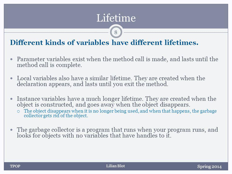 Lilian Blot Lifetime Different kinds of variables have different lifetimes.