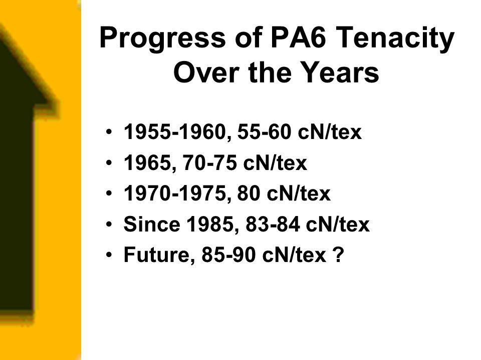 Progress of PA6 Tenacity Over the Years 1955-1960, 55-60 cN/tex 1965, 70-75 cN/tex 1970-1975, 80 cN/tex Since 1985, 83-84 cN/tex Future, 85-90 cN/tex